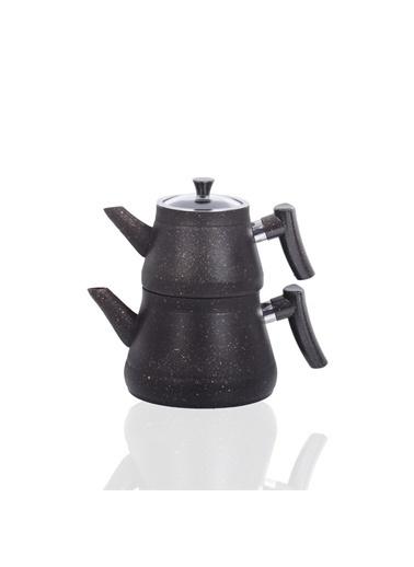 Bayev Altın Tozlu Bakalit Saplı Granit Çaydanlık 200470- Siyah - Altın Renkli
